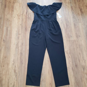 NWT Eliza J Off Shoulder Black Pleated Jumpsuit 8